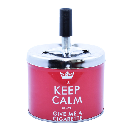 Ashtray A400661 Metal Red Inscripted 9,5 cm