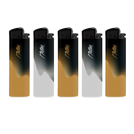Premium Flint Design label Lighter 214003 Gold and Silver