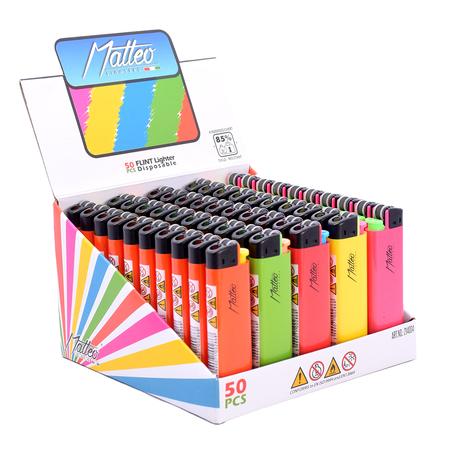 Premium Flint Design label Lighter 214004 Neon display