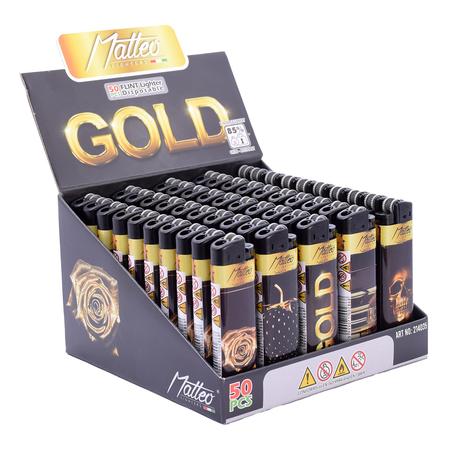 Öngyújtó 214035 tűzköves Matteo arany-fekete display