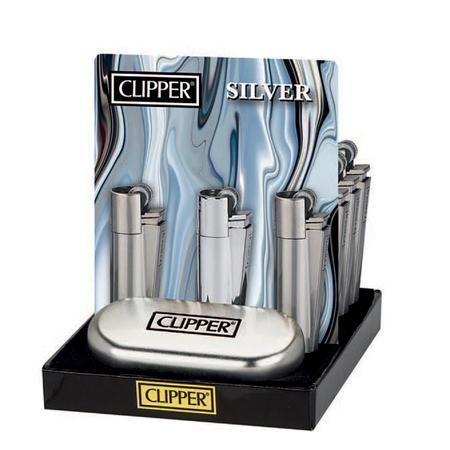 Öngyújtó fém CM0S008 tűzköves Clipper ezüst
